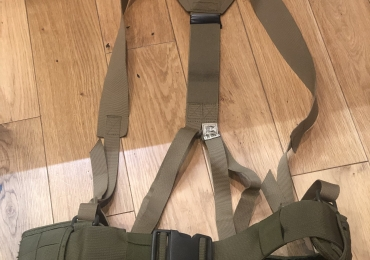 PLB Molle belt in tan with warrior assault systems yoke.